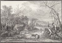 Man Leading A Horse By A Pond In A Stormy, Wooded Landscape