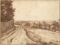 Landscape with a Road and a Fence