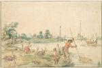 Landscape (near Ouderkerk?) with a Fisherman