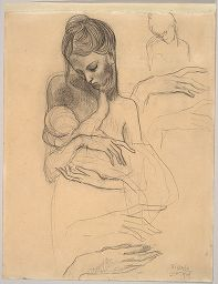 A Mother And Child And Four Studies Of Her Right Hand, 1904; Verso:  Self-Portrait Standing, 1903