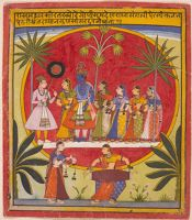 Krishna, Radha And The Gopis With A Young Prince