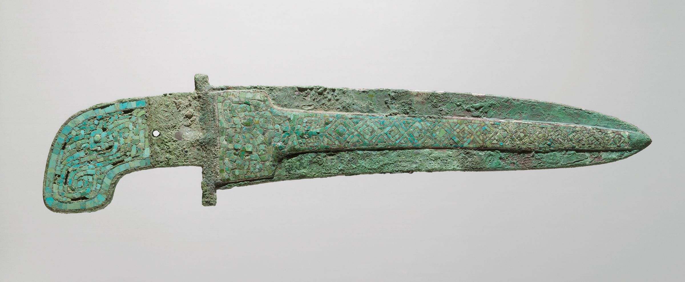 Long Turquoise-Inlaid Dagger-Axe With Curved Haft