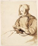 Woman Doing Handwork; verso: Landscape [by a later hand]