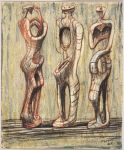 Three Standing Figures; verso: Seated Female Figure
