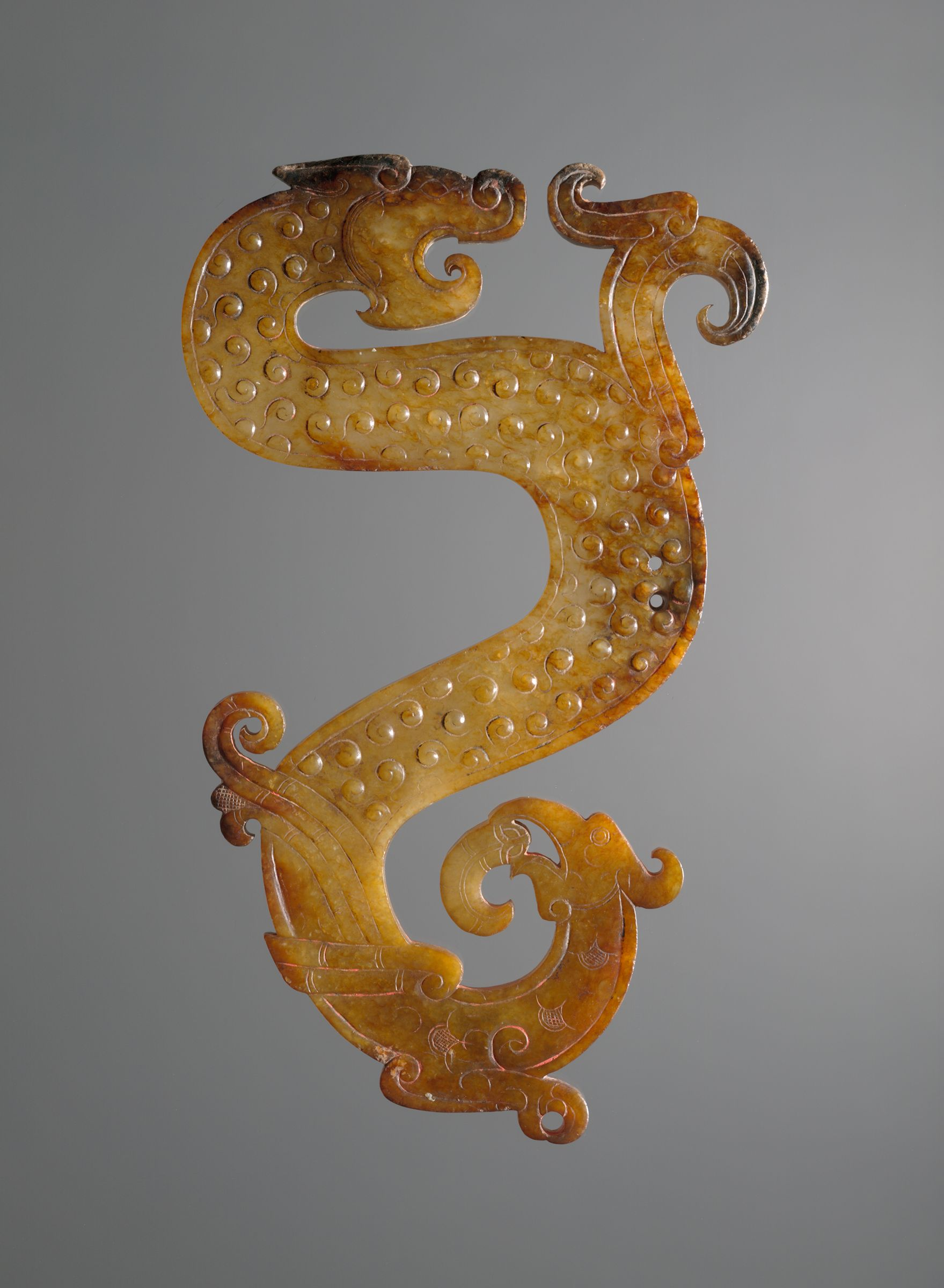 Jade Configuration Of Dragon, Bird, And Snake