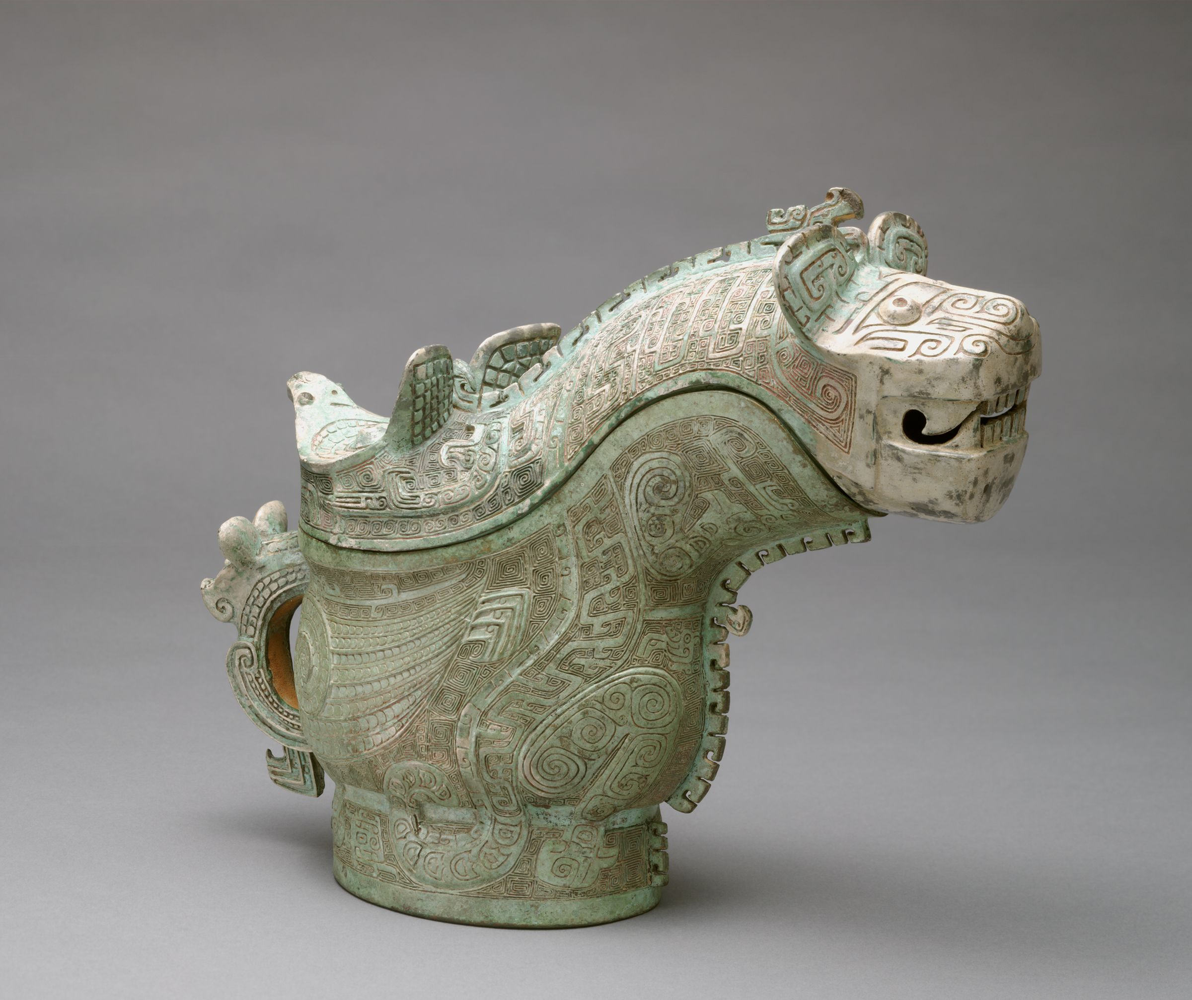 Covered Ritual Wine Pouring Vessel (Guang) With Tiger And Owl Decor
