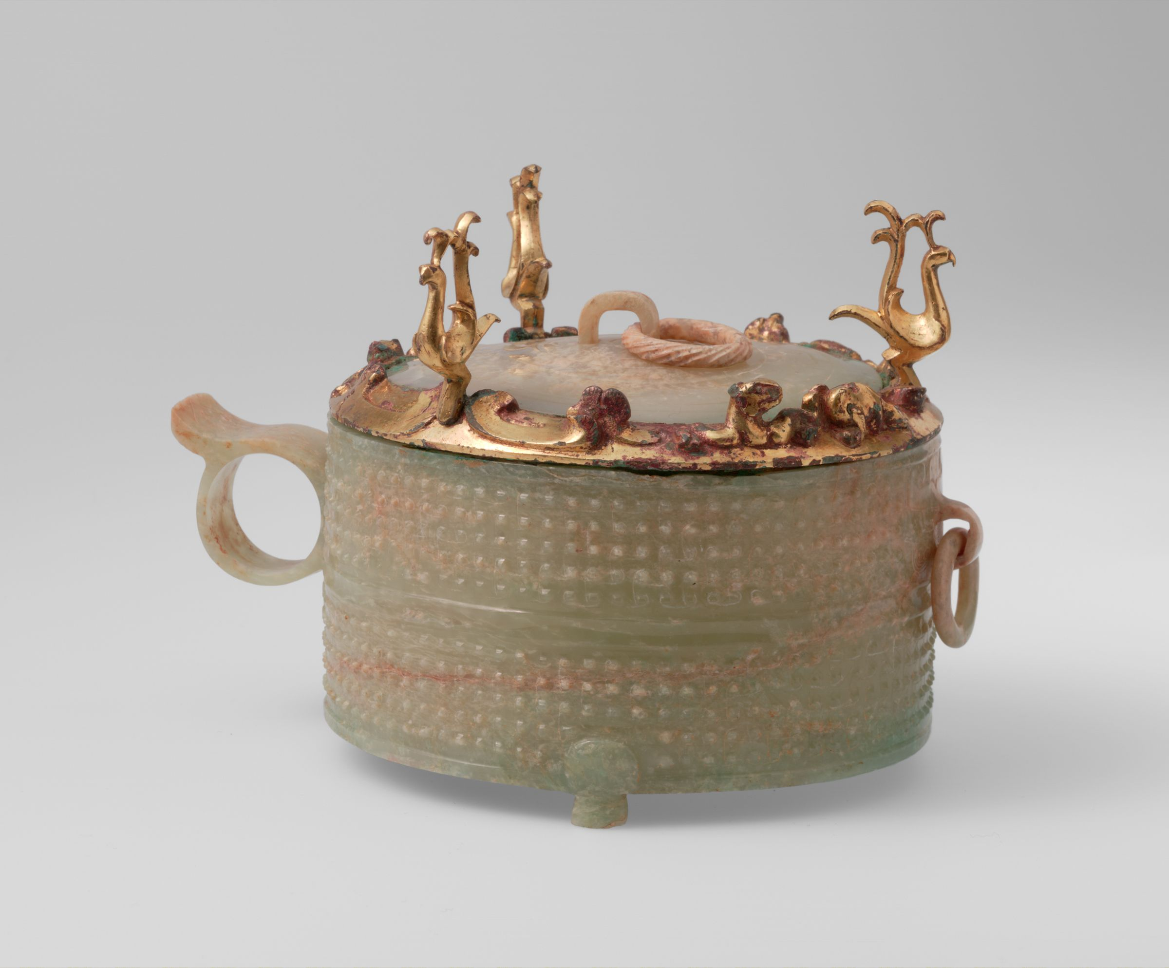 Covered Jade Cup With Gilt Bronze Fitting Decorated With Three Felines And Three Crested Birds