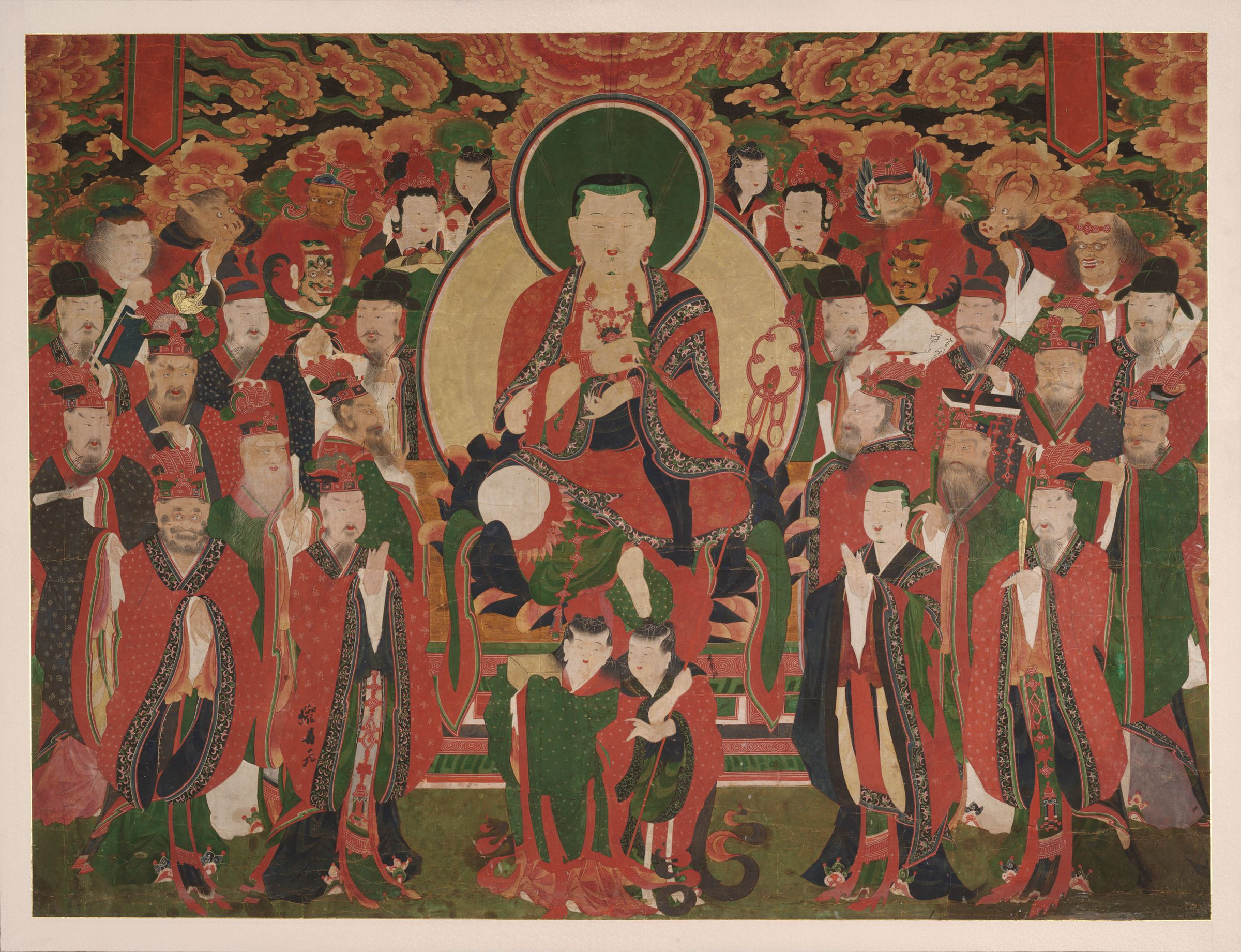 Seated Chijang Posal (Chinese, Dizang Pusa; Sanskrit, Bodhisattva Ksitigarbha) Flanked By Monk Tomyông (Chinese, Daoming) And Demon King Mutôk Kuiwang (Chinese, Wudu Guiwang) And Surrounded By The Ten Kings Of Hell And Their Retinues