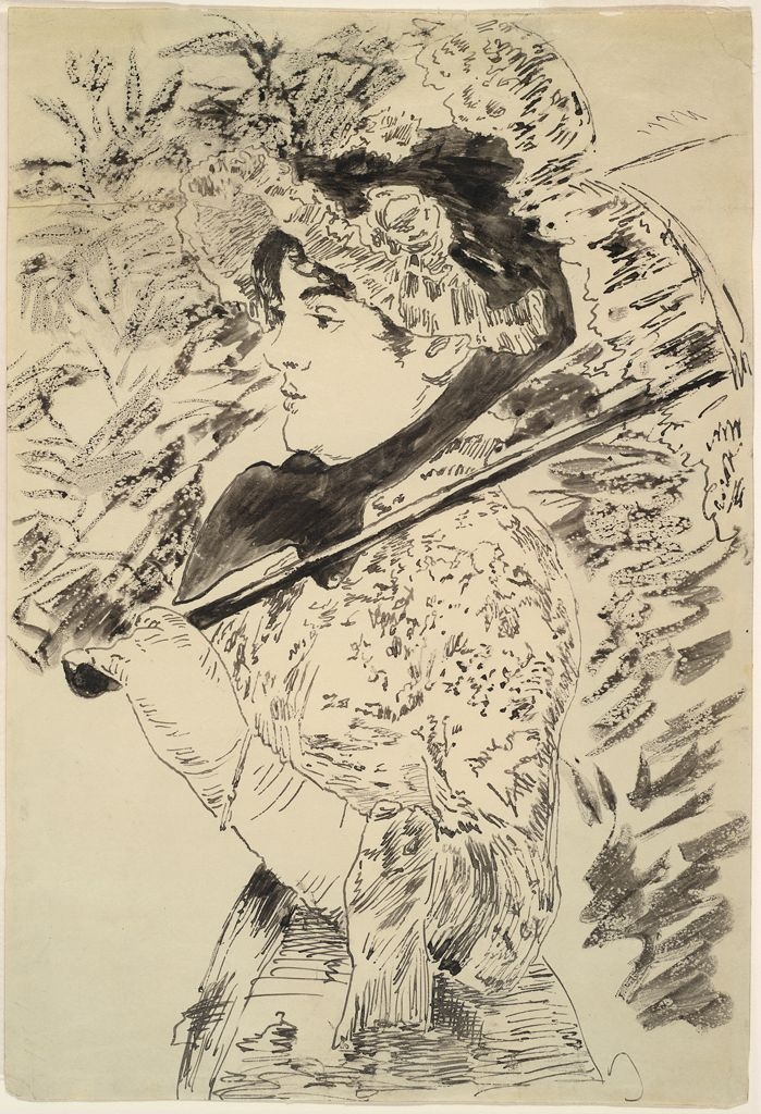 A black ink drawing depicting a woman with a parasol atop her shoulder, likely produced by the gillotage technique.