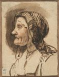 Head of an Old Woman in Profile; verso: Seated Figure