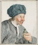 Peasant in a Fur Hat, with a Bottle of Spirits