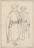 Two Figures in Polish Dress; verso: Bust-Length Figure of a Woman Looking to Right