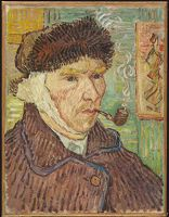 Self-Portrait With A Bandaged Ear And Pipe