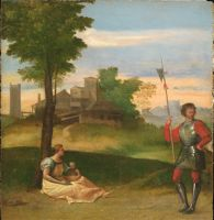 An Idyll:  A Mother And A Halberdier In A Wooded Landscape