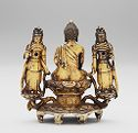 Buddhist Triad: Amitabha Buddha Seated On A Lotus Throne With His Hands Held In The 'bhûmisparsa-Mudrâ' And Flanked By Two Standing Bodhisattvas, Presumably Avalokitesvara And Mahasthamaprapta