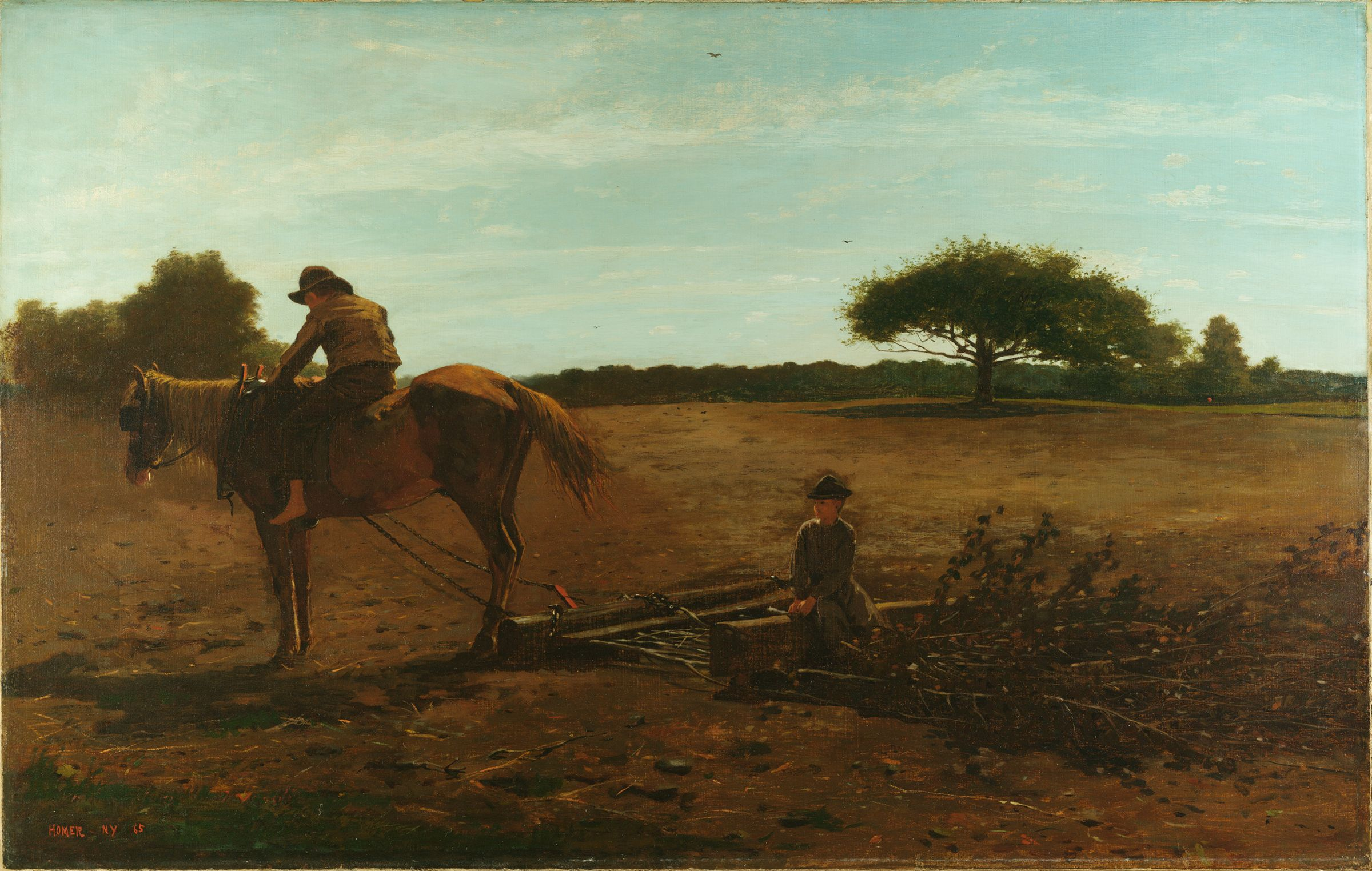 An oil painting of a boy atop a horse pulling a harrow made of short branches with another young boy sitting atop the harrow.