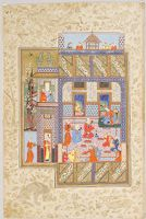 Khusraw And Shirin With Courtiers And Pomegranates  (Painting, Verso; Text, Recto), Folio From A Manuscript Of The Khamsa (Khusraw And Shirin) By Nizami