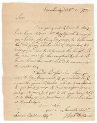 Letter from Joseph Willard to Loammi Baldwin, 1782 October 2 Digital Object
