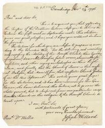Letter from Joseph Willard to Reverend William Walter, 1796 November 23 Digital Object