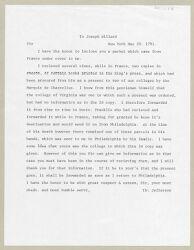 Letter from Thomas Jefferson to Joseph Willard, 1791 May 20 [twentieth-century typewritten transcription] Digital Object