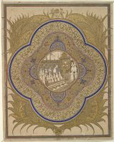 Illuminated Roundel Enclosing Scene Of A Ruler With Courtiers And Gifts