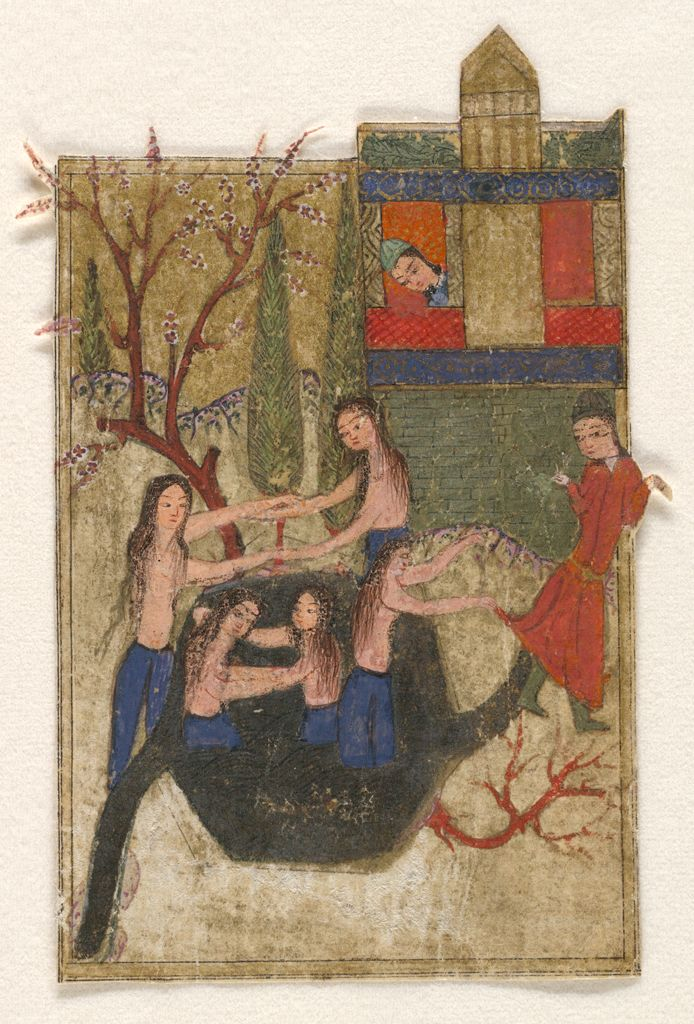 Merveilleux Bathing Maidens Observed By The Master Of The Garden, Illustrated Folio  From A Manuscript Of