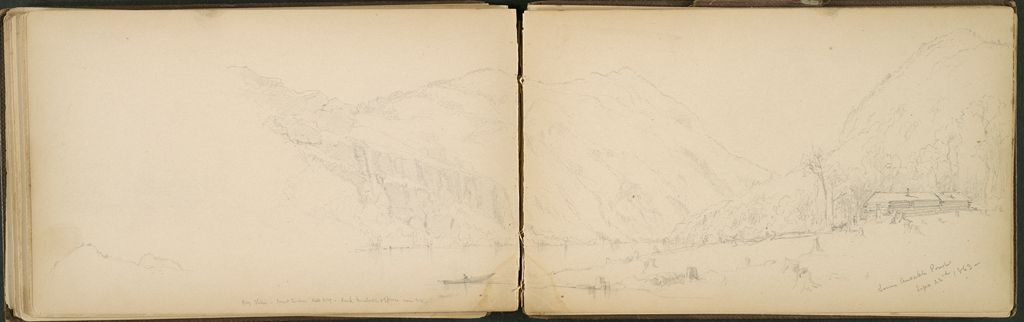 Landscape With Lake; Verso: Partial Ausable Pond Landscape With Cabin