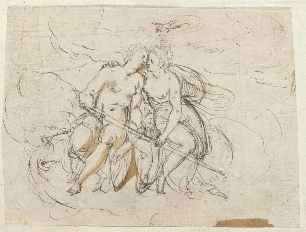 An Allegory Of Peace Restraining War, A Dove Above; Verso: Fleur De Lis And Trefoil Designs