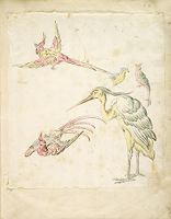 Two Pheasants In Flight, A Standing Heron And Two Small Birds; Verso: Blank
