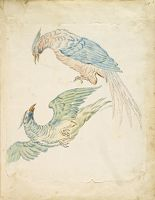 Two Birds, One Perched And One In Flight; Verso: Blank