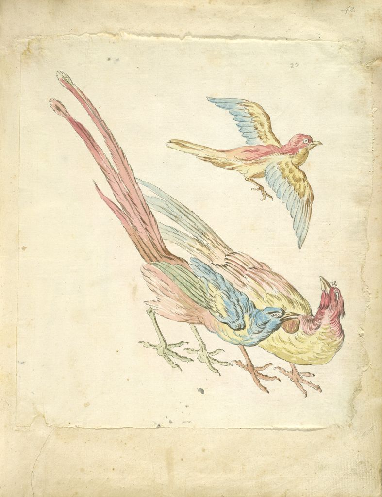 Small Bird In Flight Above Two Pheasants; Verso: Blank