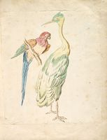 Perched Parrot And Standing Heron; Verso: Blank