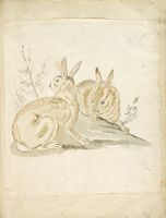Two Rabbits; Verso: Blank
