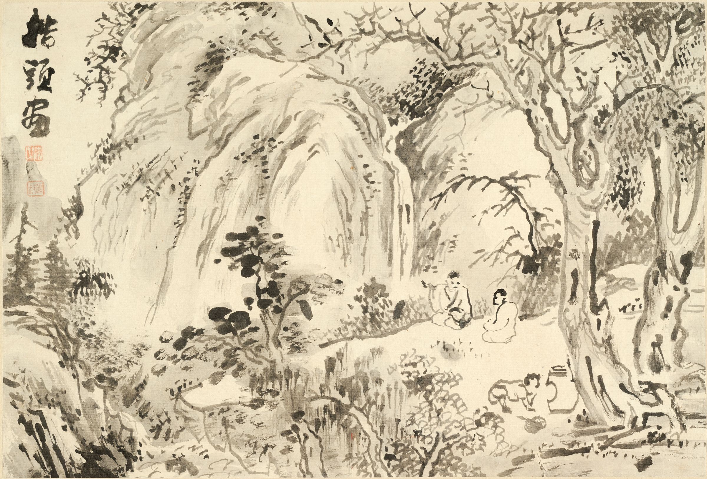 Two Scholars Seated In A Landscape, Engaged In Conversation, And Admiring A Waterfall While An Attendant Prepares Tea