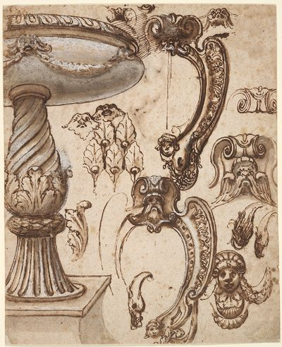 Design For A Holy Water Font, And Architectural Ornaments; Verso: Two Cartouches And Two Birds