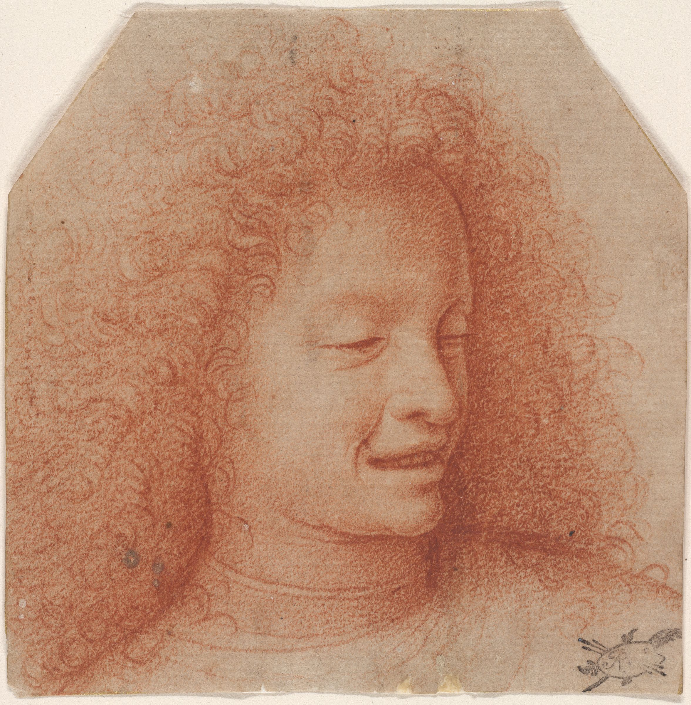 Head Of A Smiling Youth With Curly Hair Facing One Quarter Left