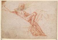 Reclining Nude; Verso: Drapery Study