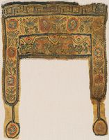 Tunic Fragment With Birds, Flowers, Lions, And Dancers