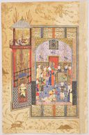 Gushtaham and Banduy Blind Hurmuzd (painting, recto; text, verso), folio from a manuscript of the Shahnama by Firdawsi