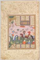 Sultan Sanjar and the Old Woman (painting, recto; text, verso), folio from a manuscript of the Khamsa (Makhsan al-Asrar) by Nizami