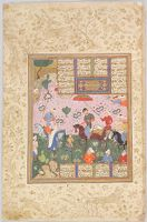 Sultan Sanjar And The Old Woman (Painting, Recto; Text, Verso), Folio From A Manuscript Of The Khamsa (Makhsan Al-Asrar) By Nizami