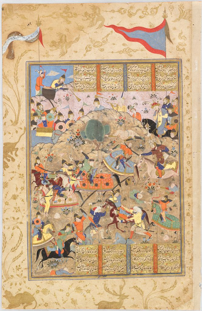 The Iranians Repel Afrasiyab'S Night Attack (Painting, Recto; Text, Verso), Folio From A Manuscript Of The Shahnama By Firdawsi