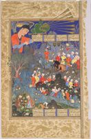 Iskandar Meets The Angel Israfil And Khizr Finds The Water Of Life (Painting, Recto; Text, Verso), Folio From A Manuscript Of The Shahnama By Firdawsi