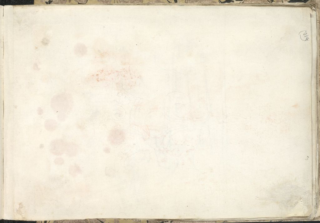 Blank Page; Verso: View Of A Garden With A Statue