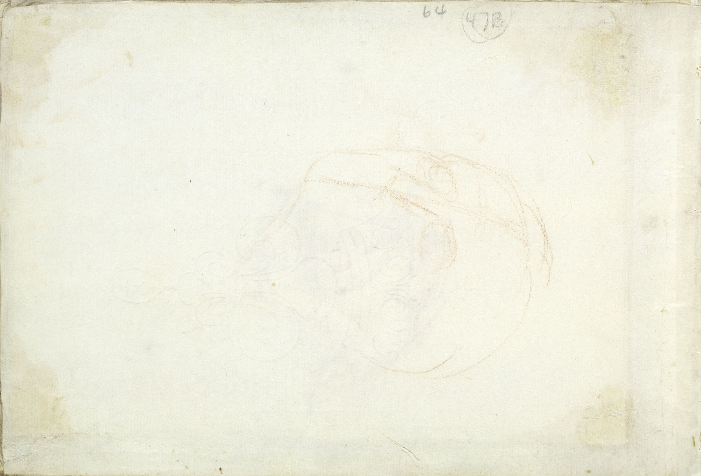Blank Page; Verso: Outline Of A Head