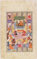 Burzuy Brings Nushirvan The Book Of Kalila And Dimna  (Painting, Recto; Text, Verso), Illustrated Folio From A Manuscript Of The Shahnama By Firdawsi