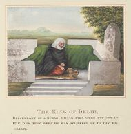 """The King of Delhi, Descendant of a Schab, whose Eyes were Put out in Ld. Clive's Time when he was Delivered up to the English; from an Album entitled """"Costumes of India"""""""