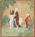 Nahan (Chinese, Luohan) Riding A Spotted White Deer In A Landscape While Assisted By An Elderly Male Attendant