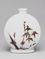 Small, Circular Moon Flask With Bamboo Decor