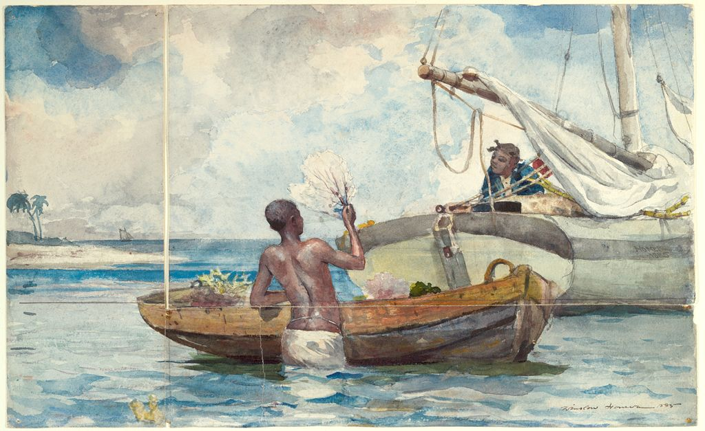A watercolor of a man standing in the ocean, his back the viewer, holding up a piece of coral towards a person in a nearby boat.